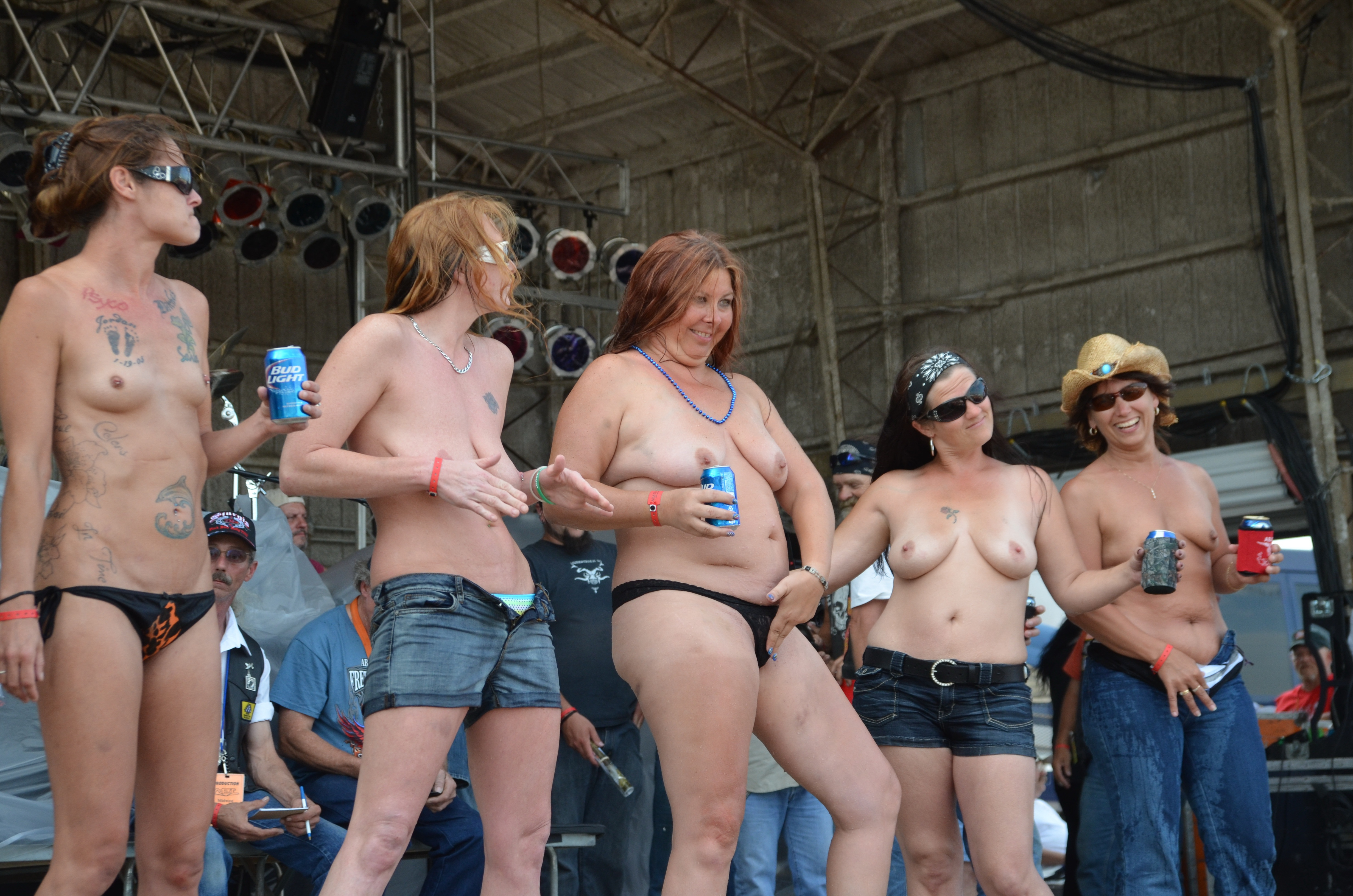image Real hot rally coeds at the public fest goes naked